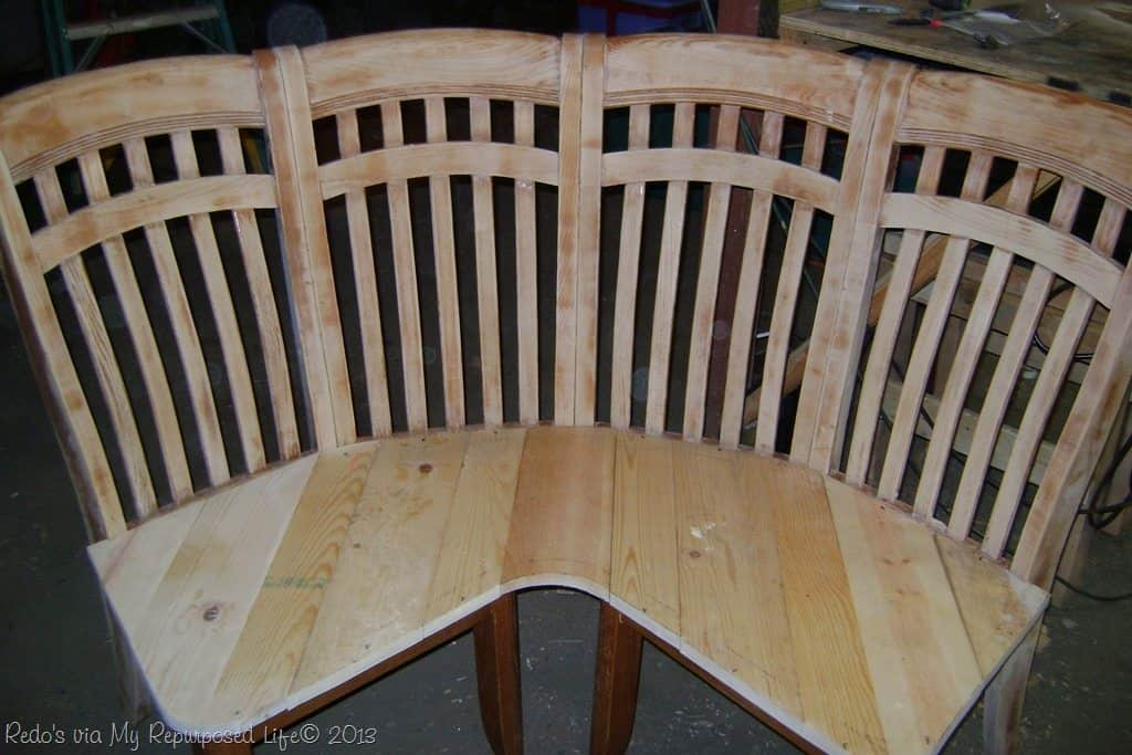 Curved corner bench from old chairs