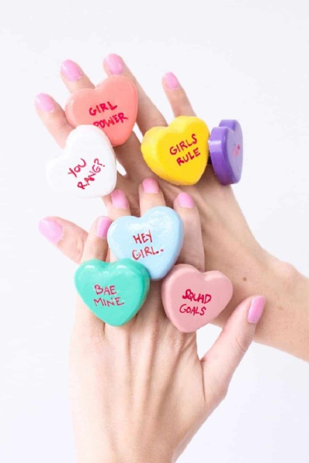 Diy conversation heart rings
