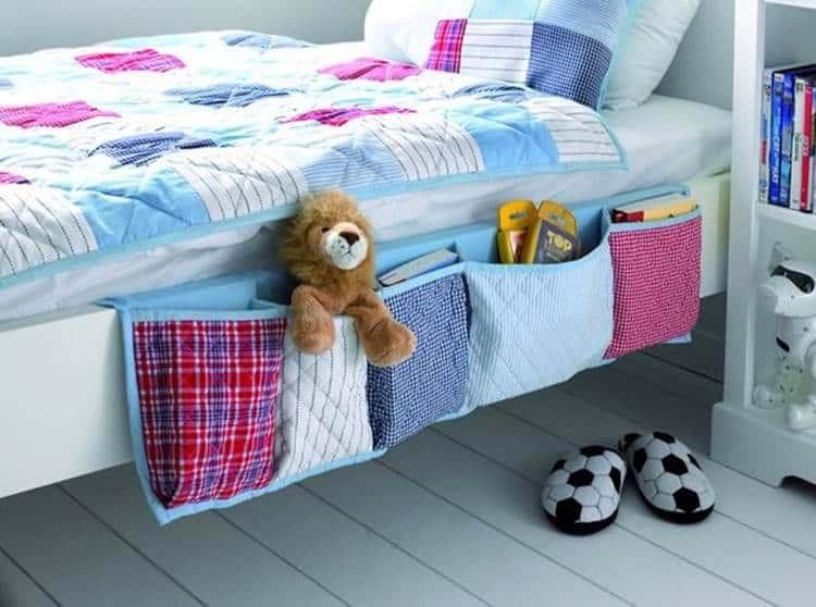 Diy hanging bedside organizer