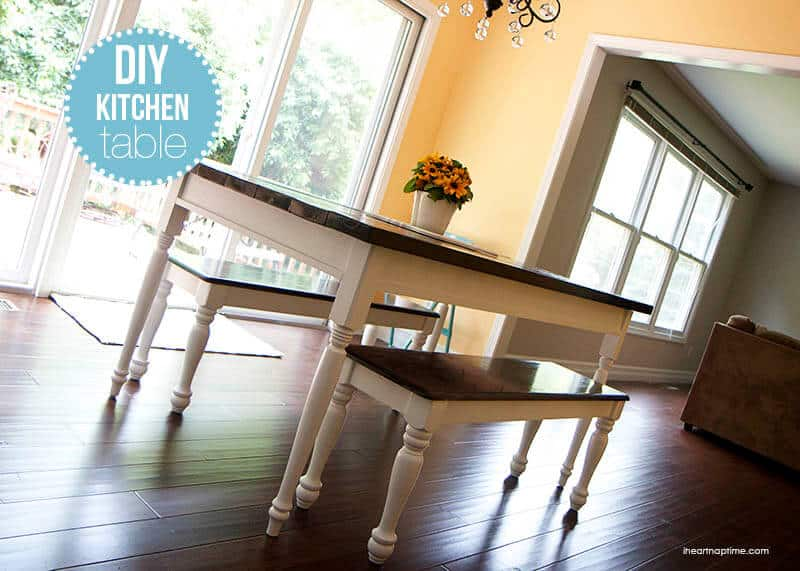 Diy bevel legged table with matching benches