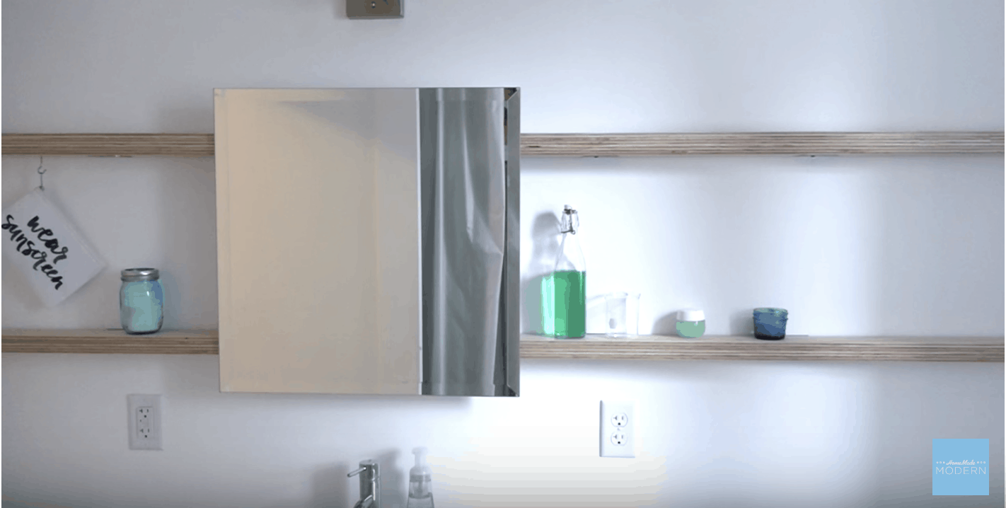 Diy sliding bathroom mirror and cabinet shelf