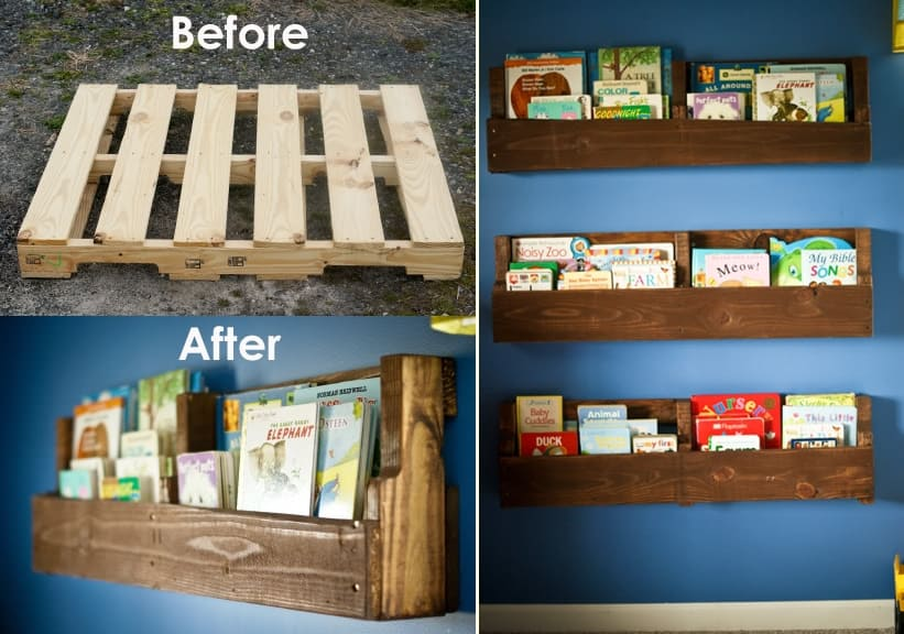 Diy wood pallet bookshelves
