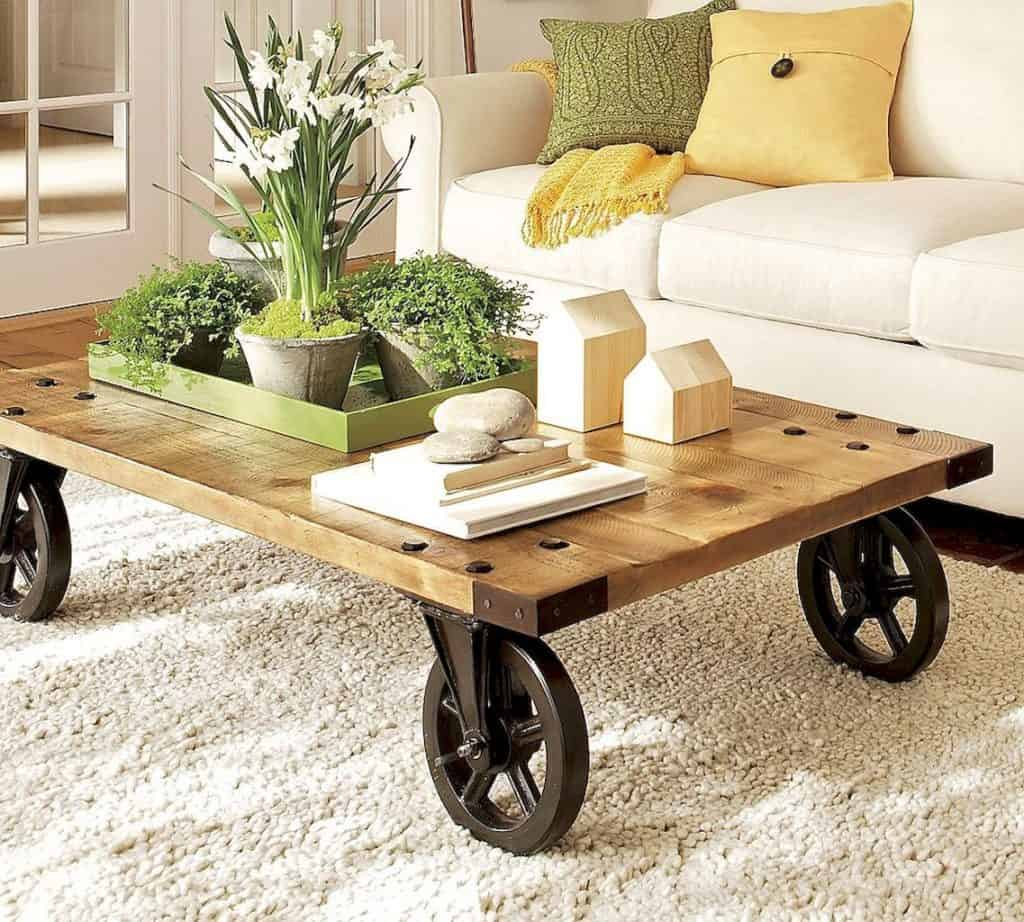Farmhouse coffee table with wheels