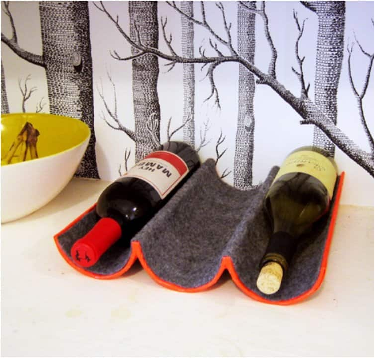 Felt and mailing tube wine rack