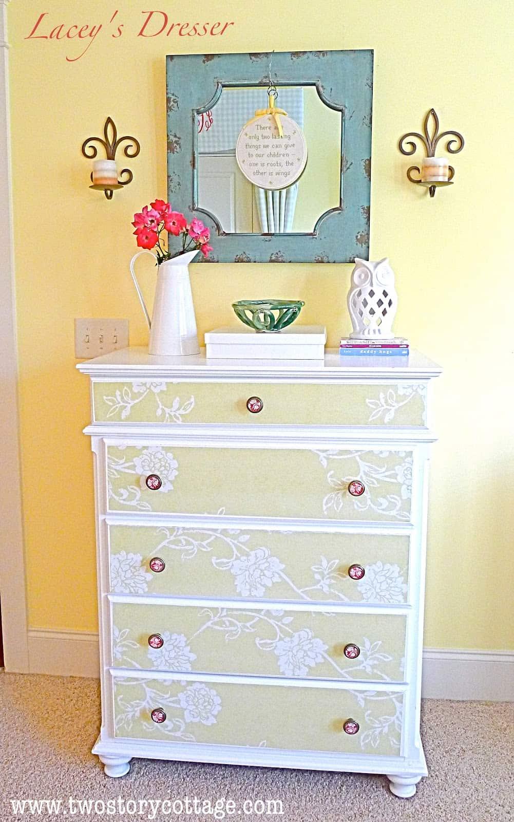 Floral wallpaper dresser