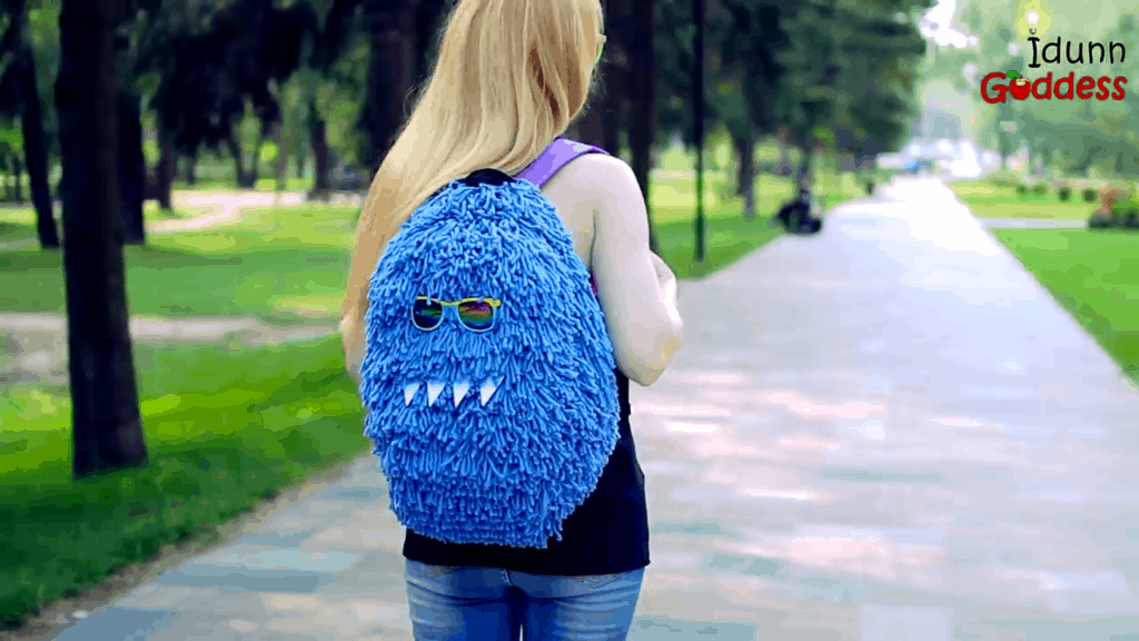 Fluffy monster backpack