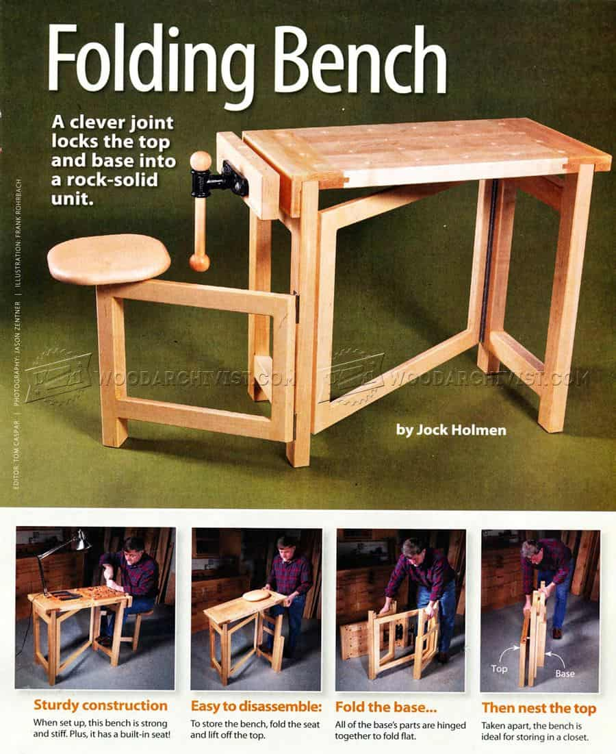 Folding bench with built0in folding stool