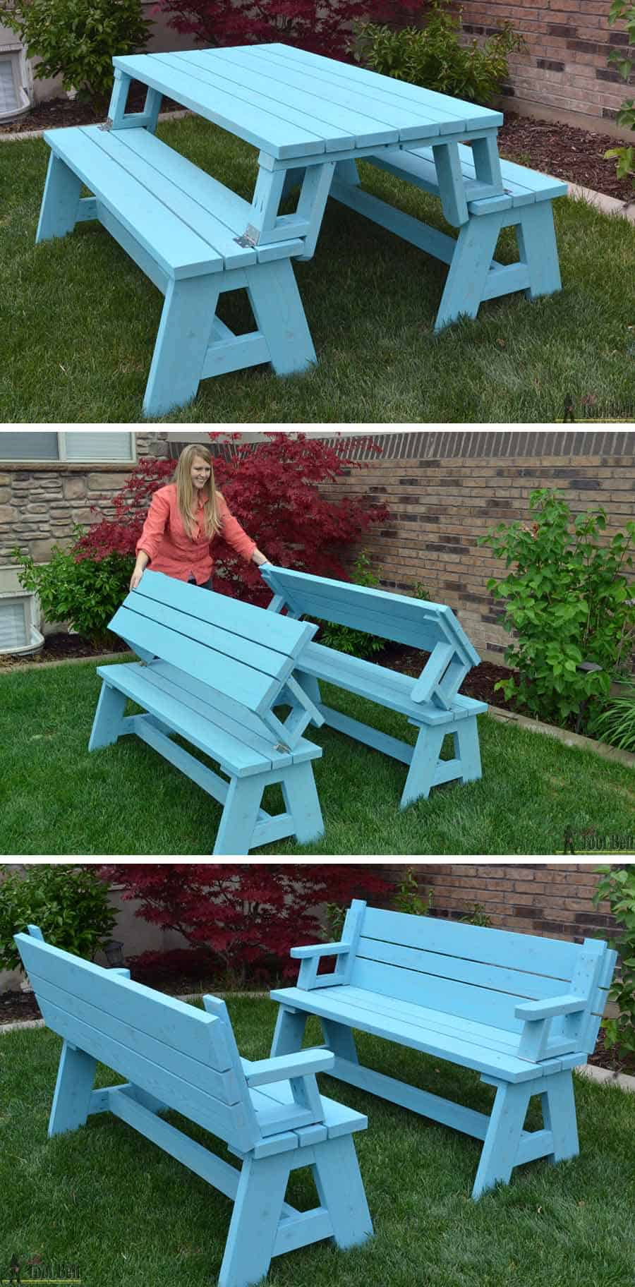 Folding table to benches