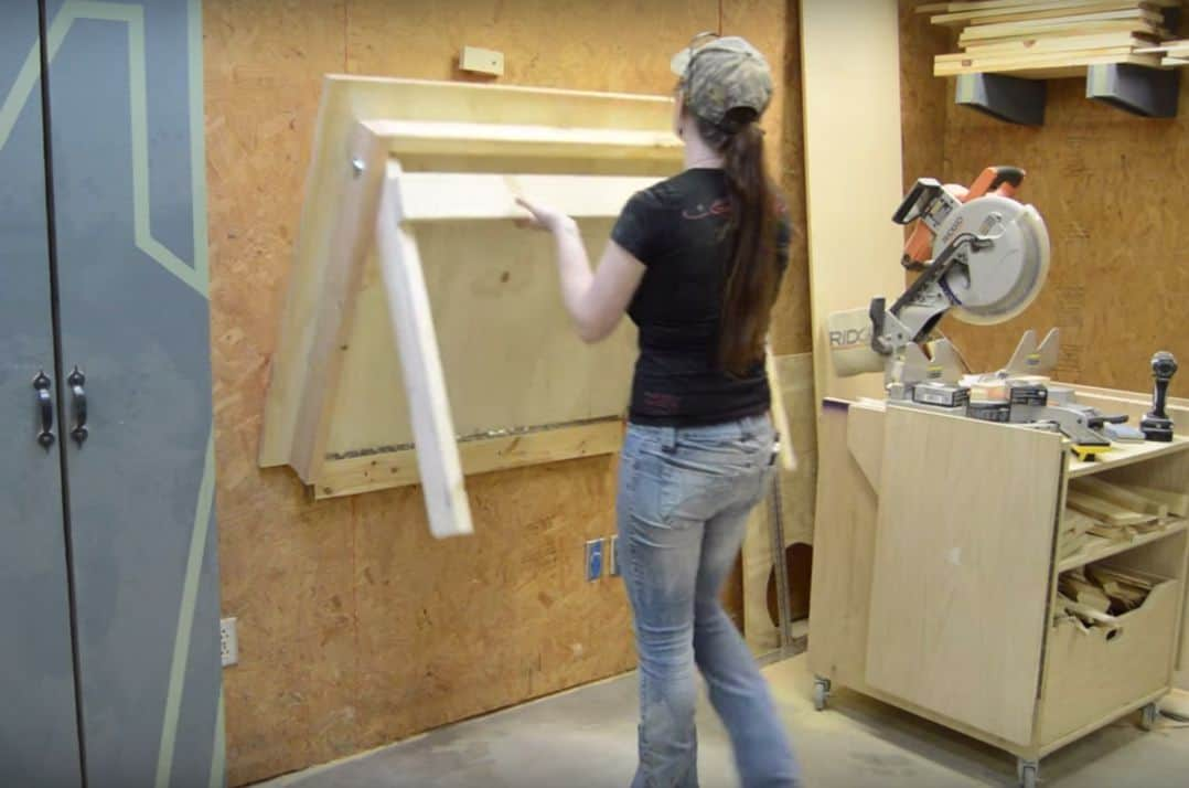 Folding wall mounted work bench
