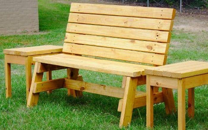 Garden bench with matching tables