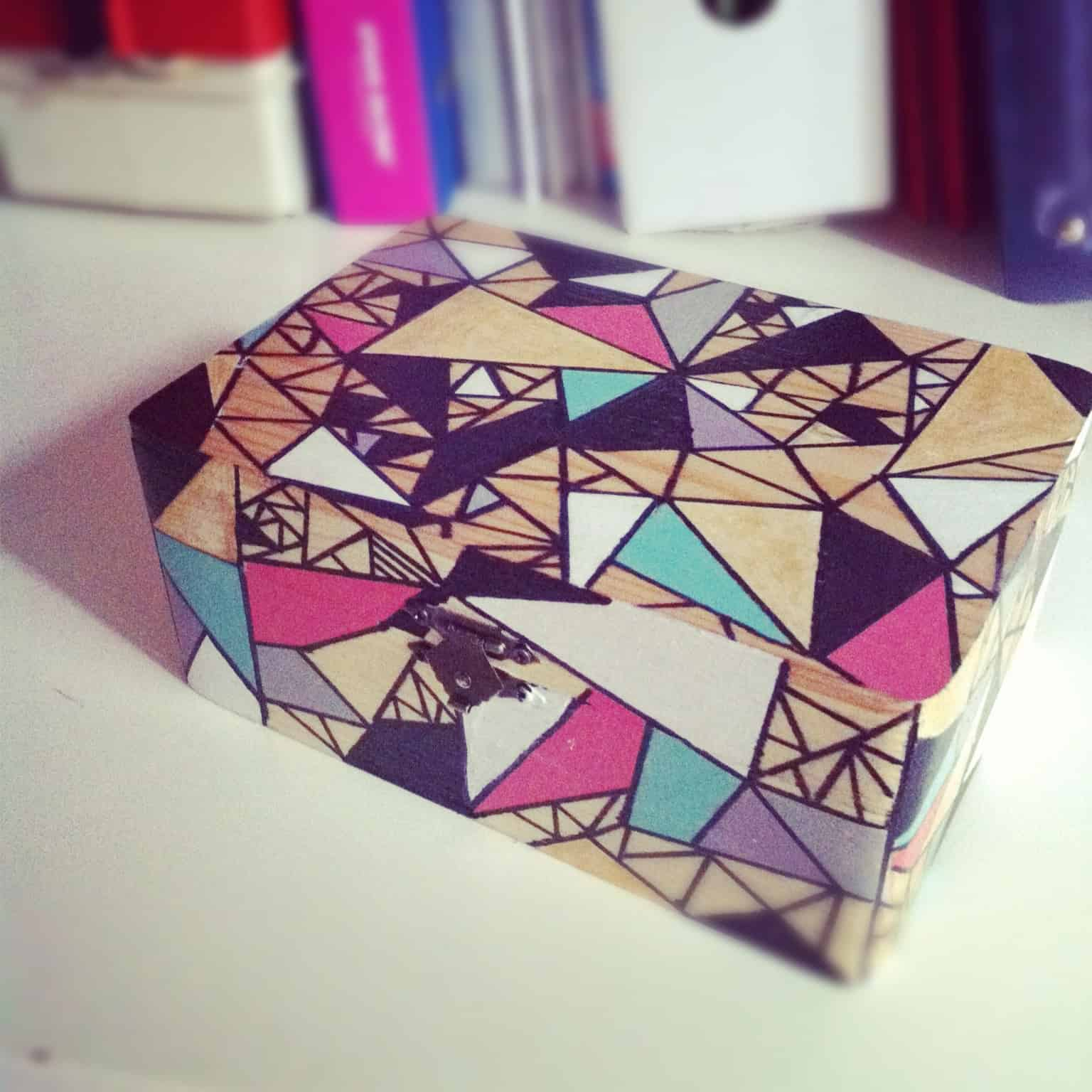 Geometric painted jewelry box