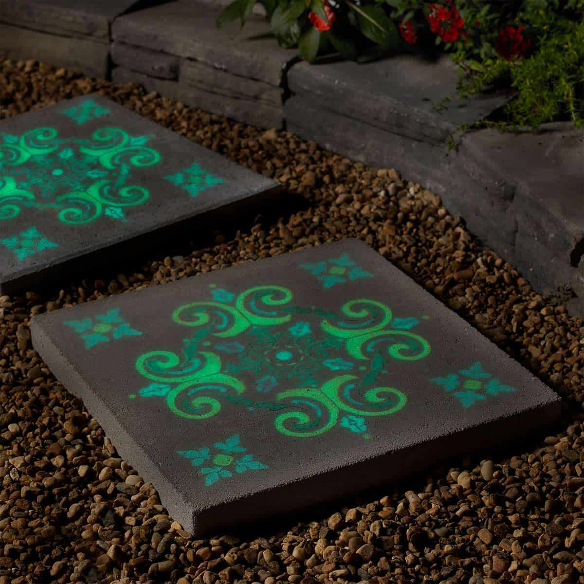 Glow in the dark stencil stepping stone