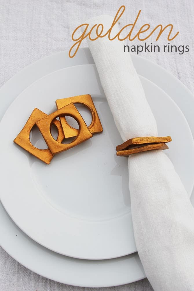 Golden clay napkin rings