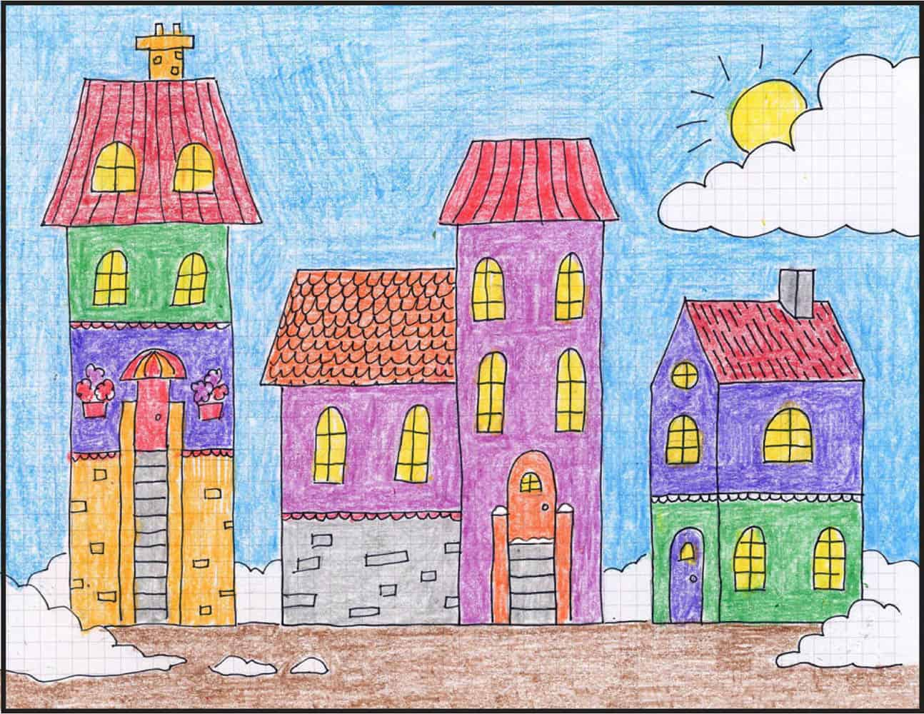 Grid paper winter town drawing