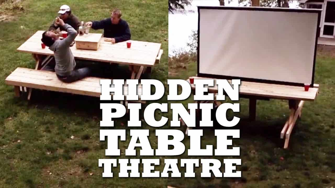 Hidden picnic table theatre