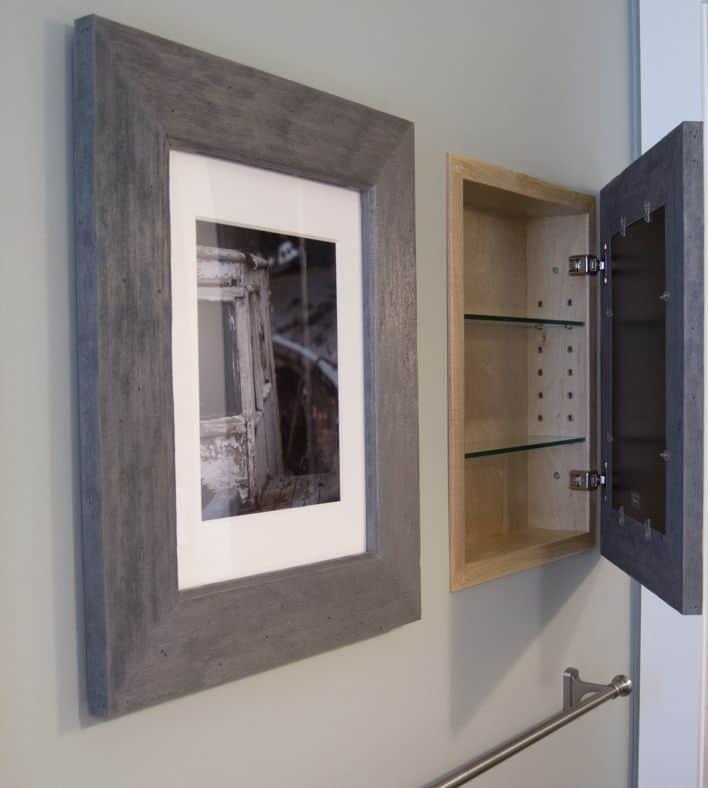 Inset bathroom frame cabinet