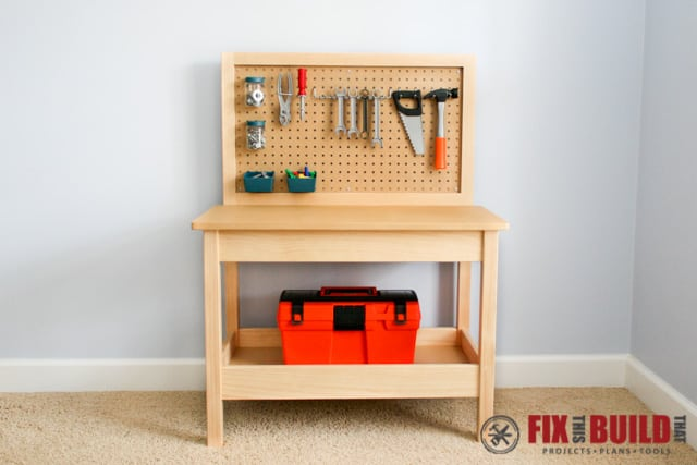 Kid's workbench with pegboard storage