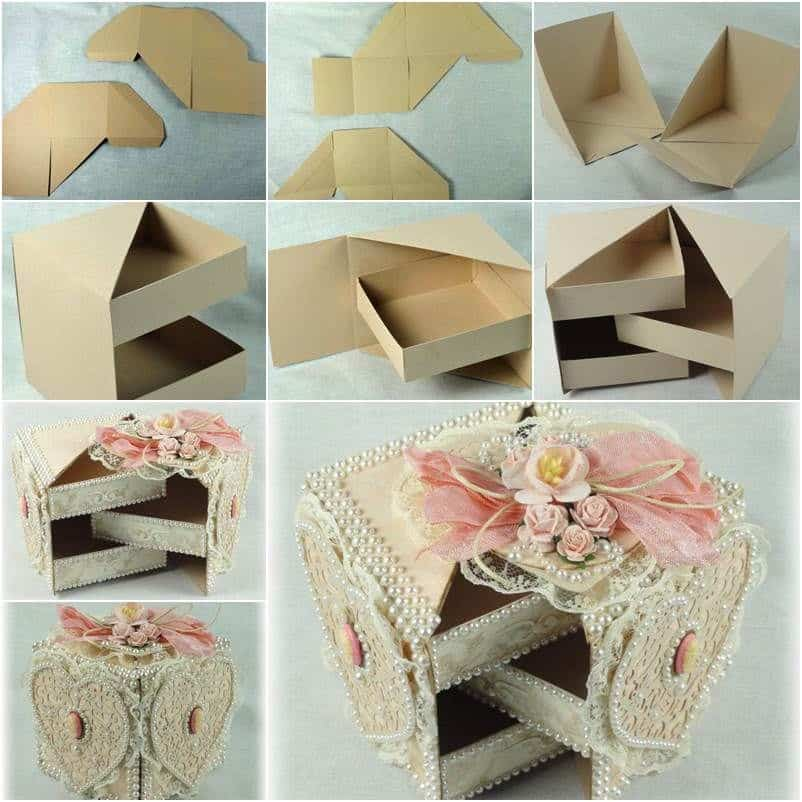 Lace and bead cardboard box with shelves