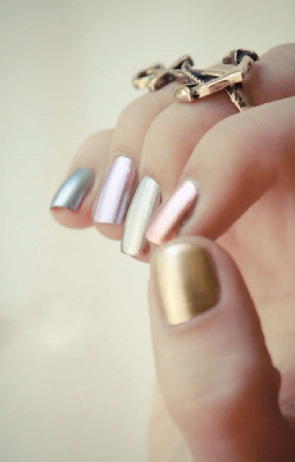 Metallic ombre nails