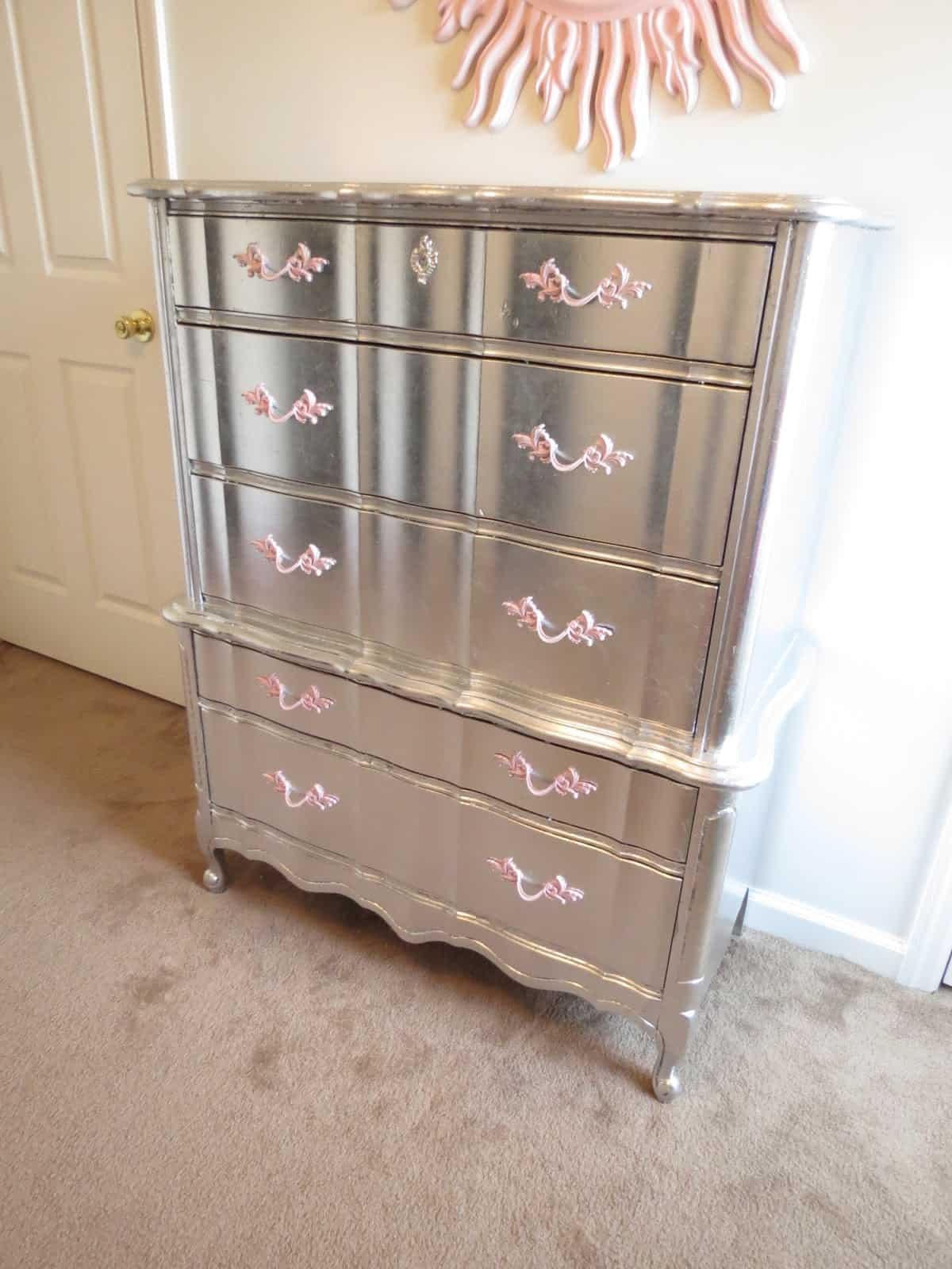 Metallic silver leafed dresser