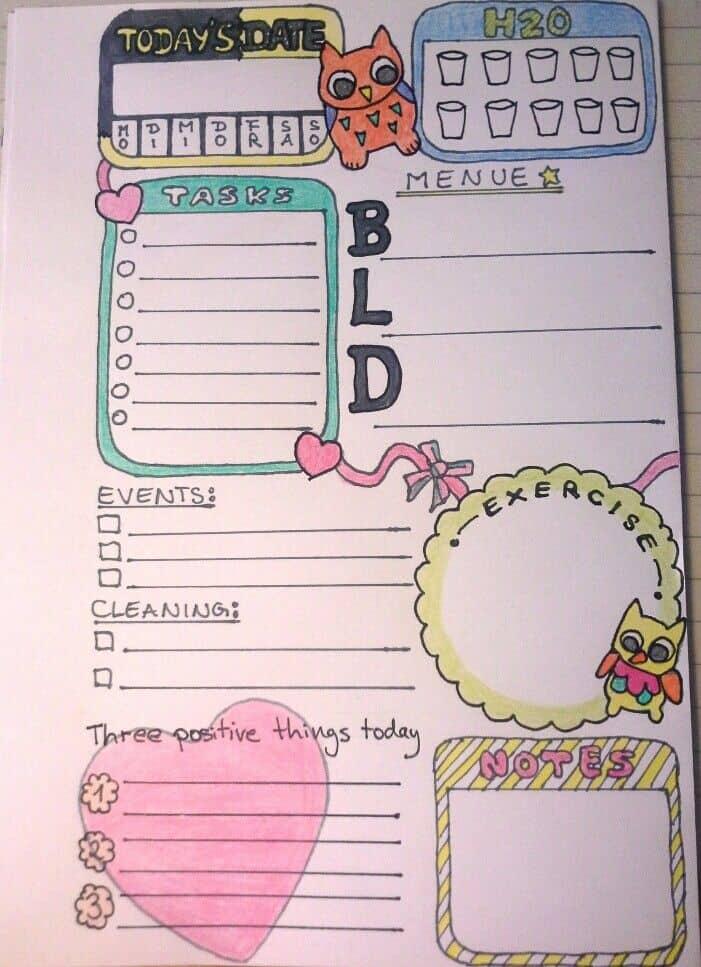Motivational doodle planner