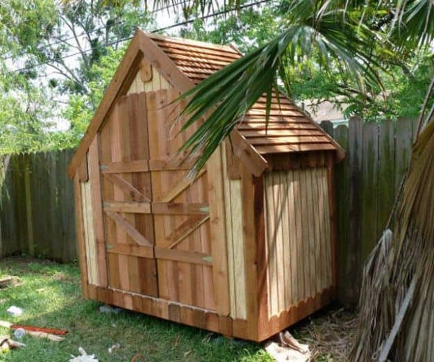 Narrow wooden backyard shed