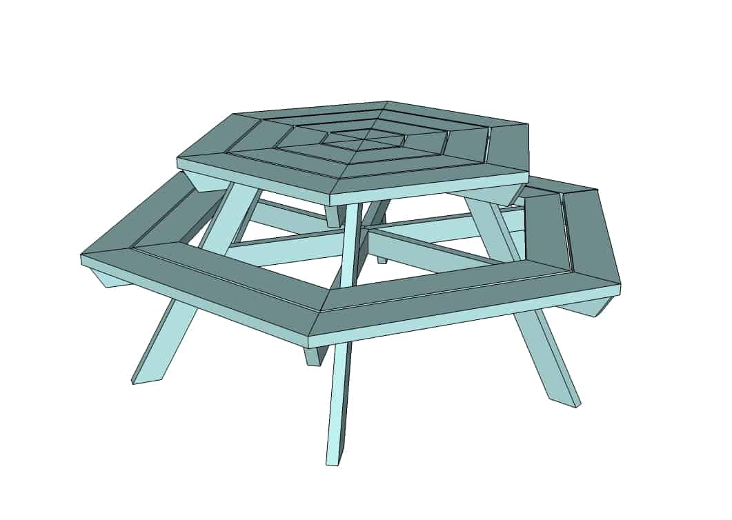 Octagon shaped picnic table