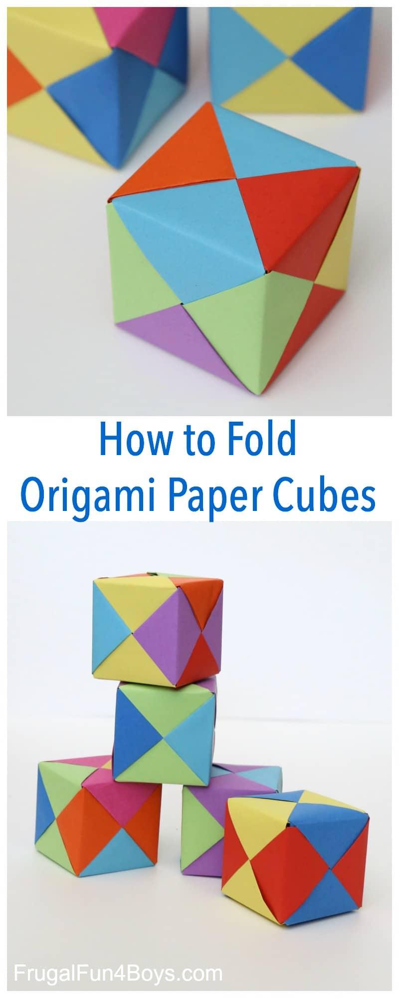 Origami paper cubes