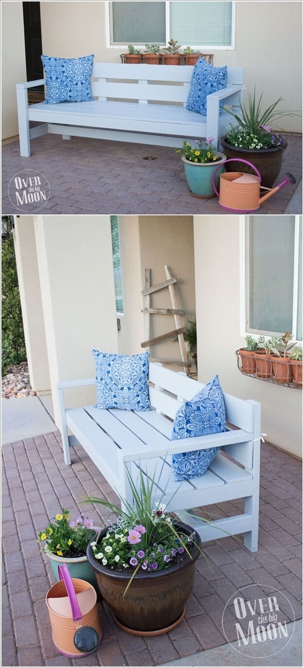 Painted wooden porch bench from scratch