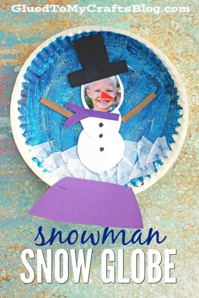 Paper plate snowman and photo snow globe