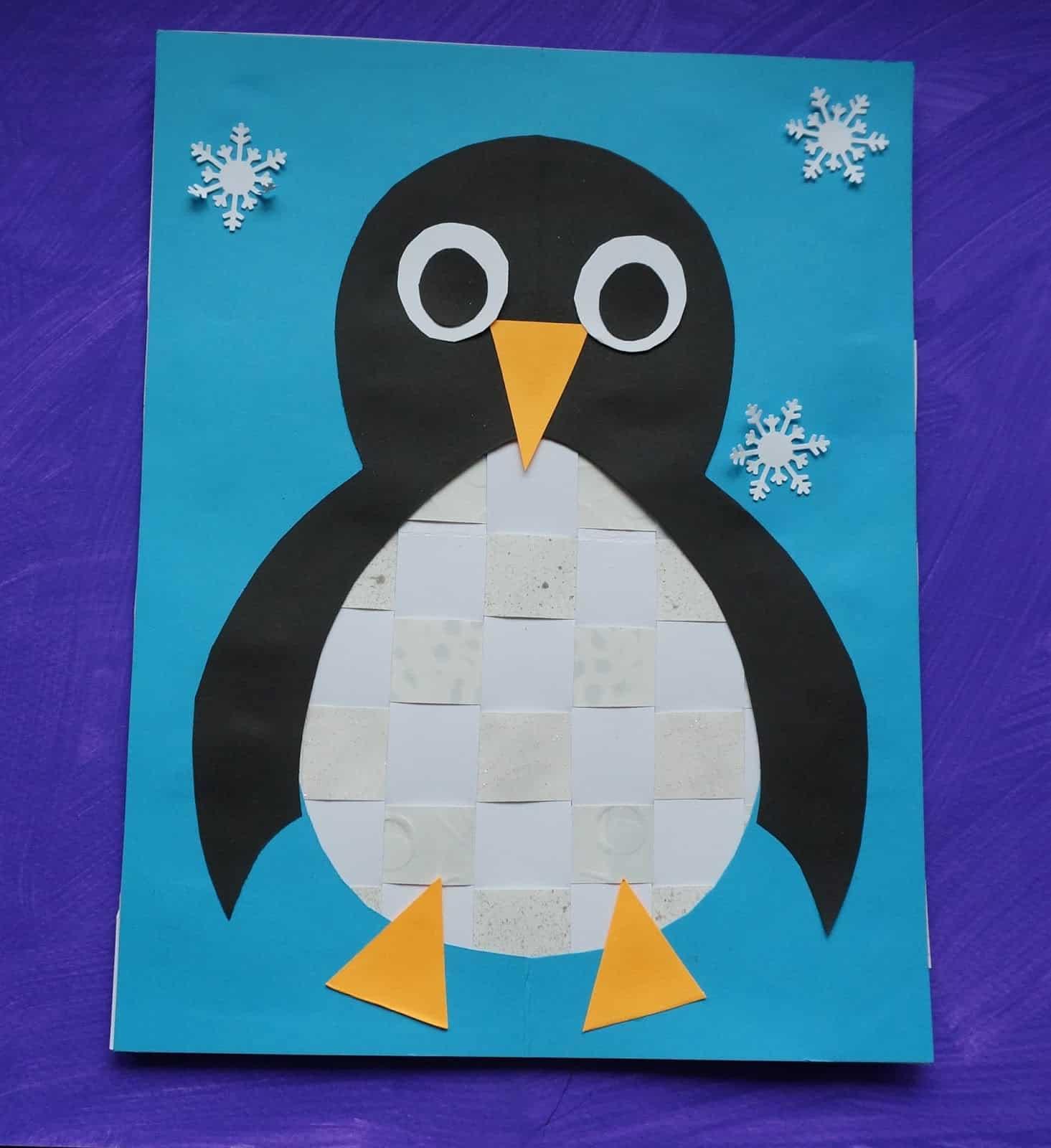 Paper woven winter penguin