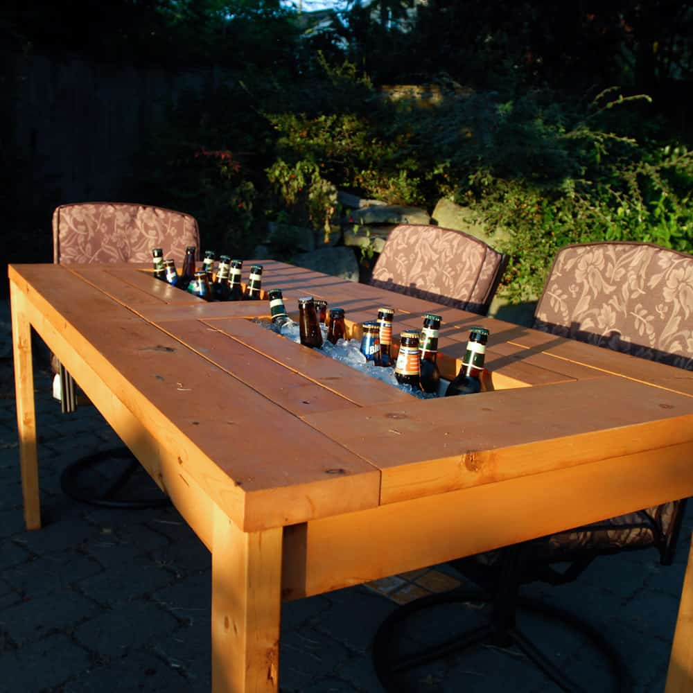 Picnic table with built in drink cooler