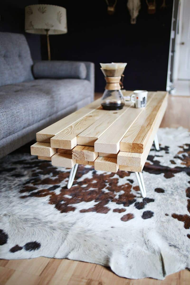 Piled 2x4 coffee table