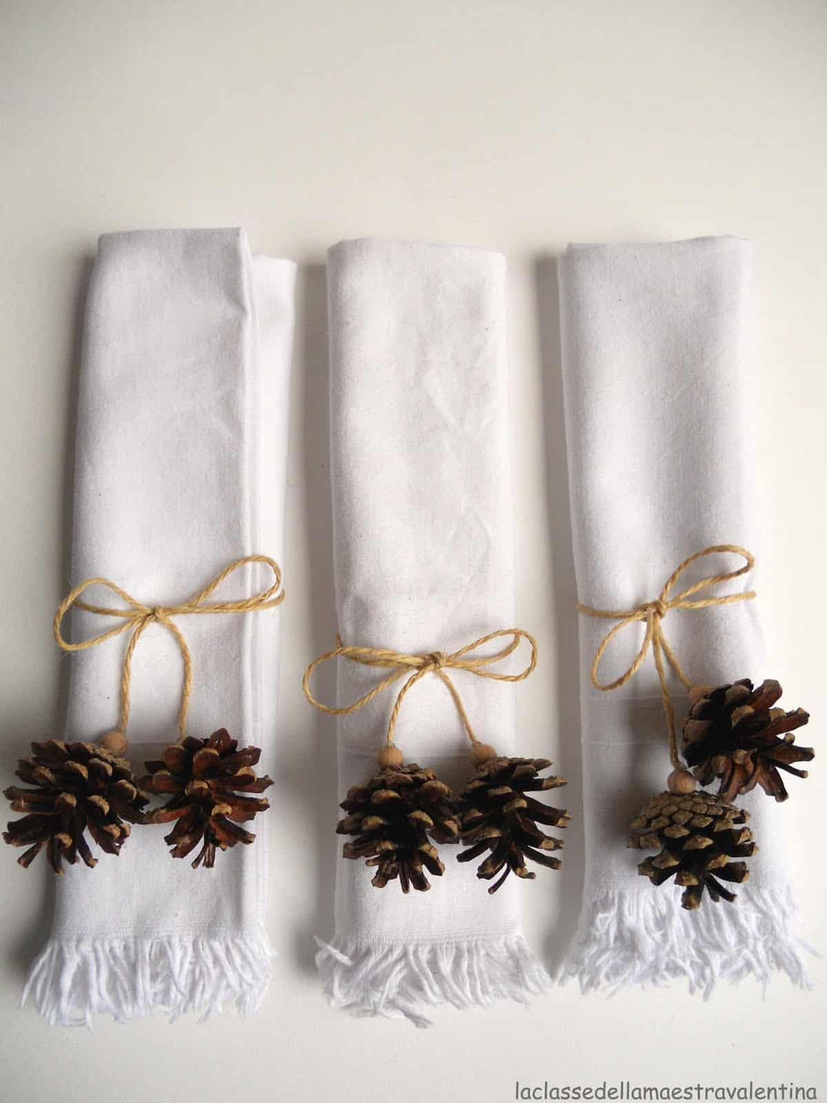 Pine cone and string napkin rings