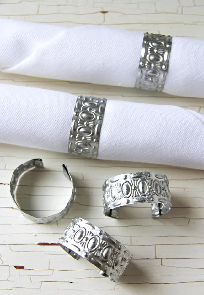 Pressed tin napkin rings