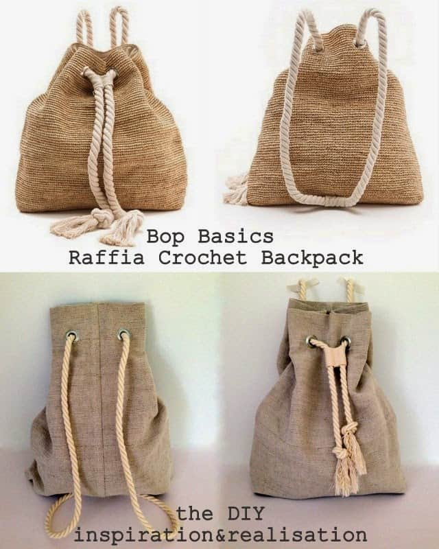 Raffia crocheted backpack