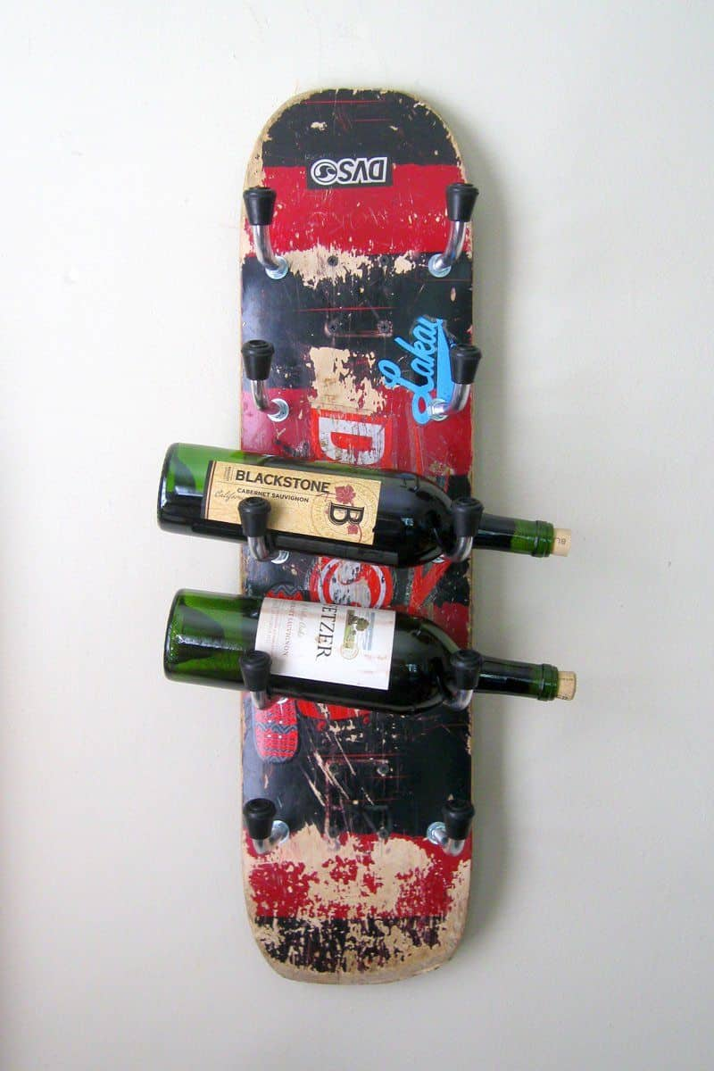 Recycled skateboard wine rack