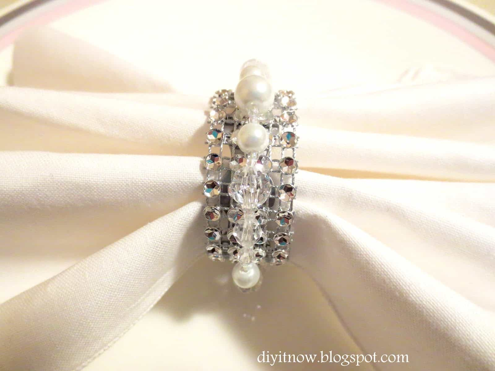 Rhinestone and pearl napkin rings