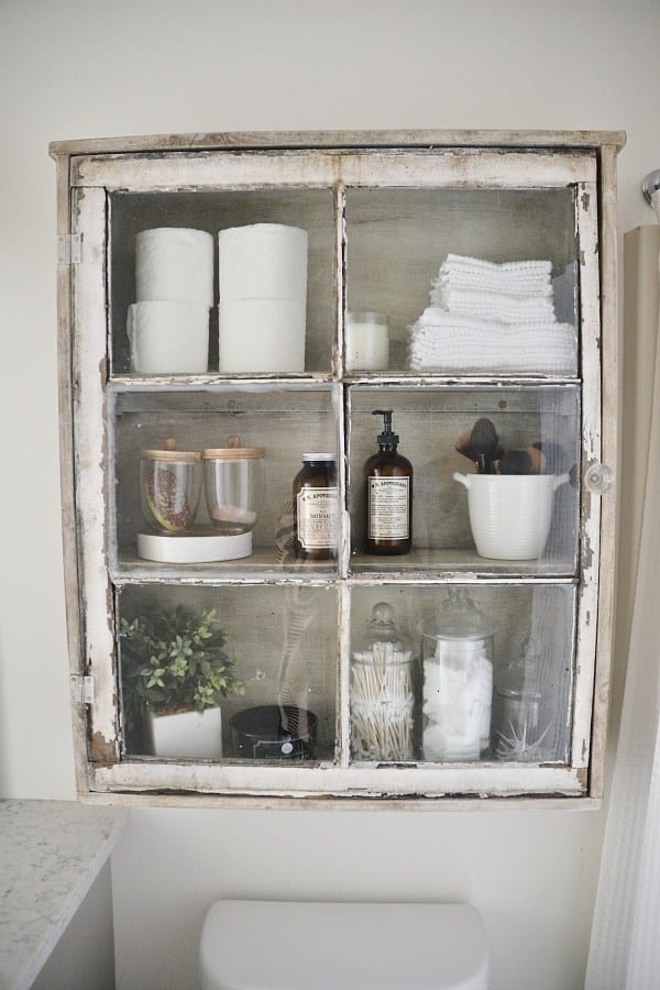 Rusti window framed bathroom cabinet