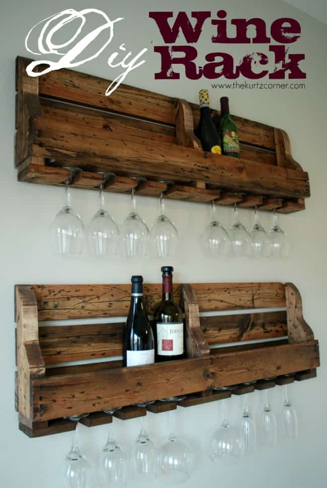 Rustic wine rack with glass hangers