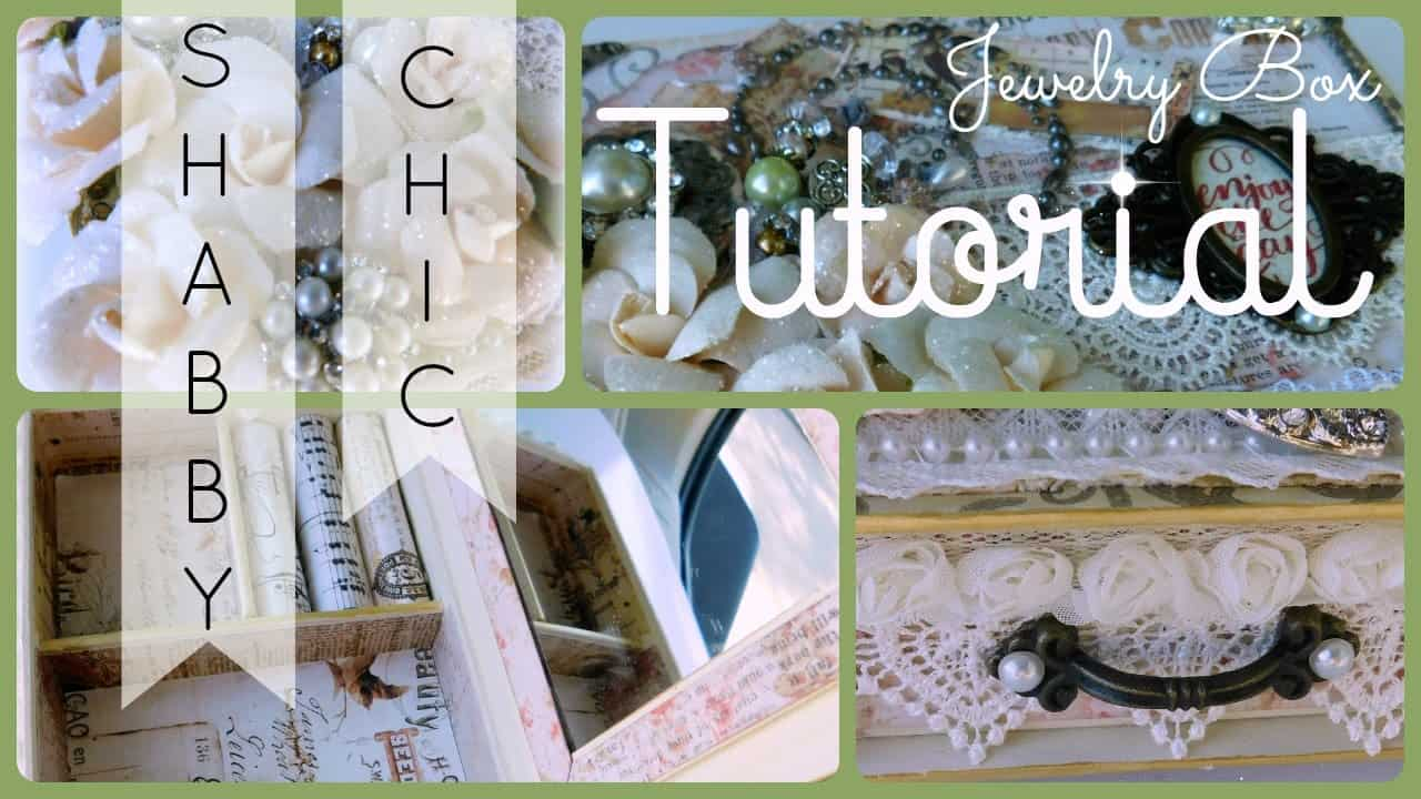 Shabby chic lace and scrapbook paper jewelry box