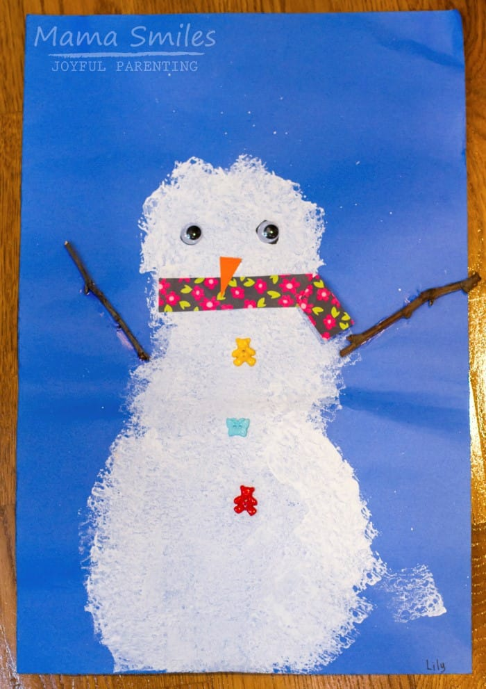 Sponge and branch snowman painting