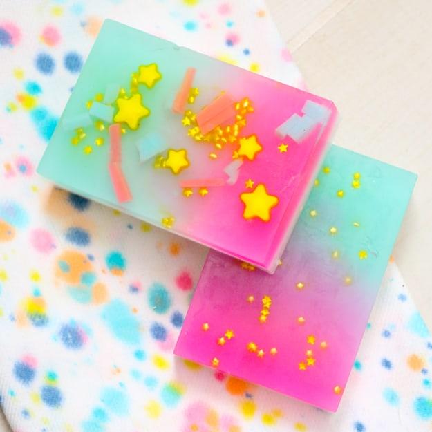 Star studded unicorn soap homemade soap