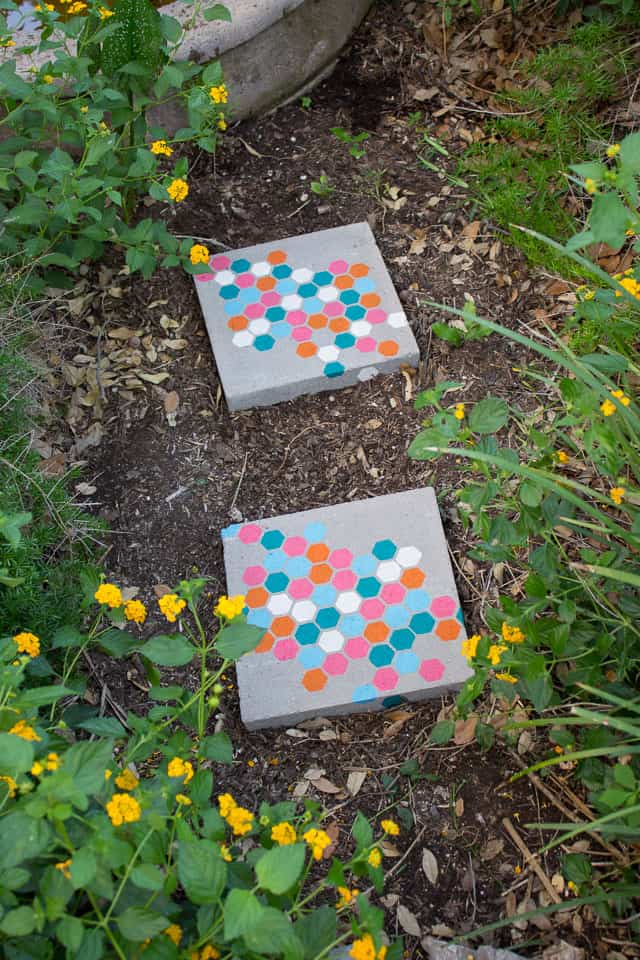 Stencilled honeycomb stepping stones