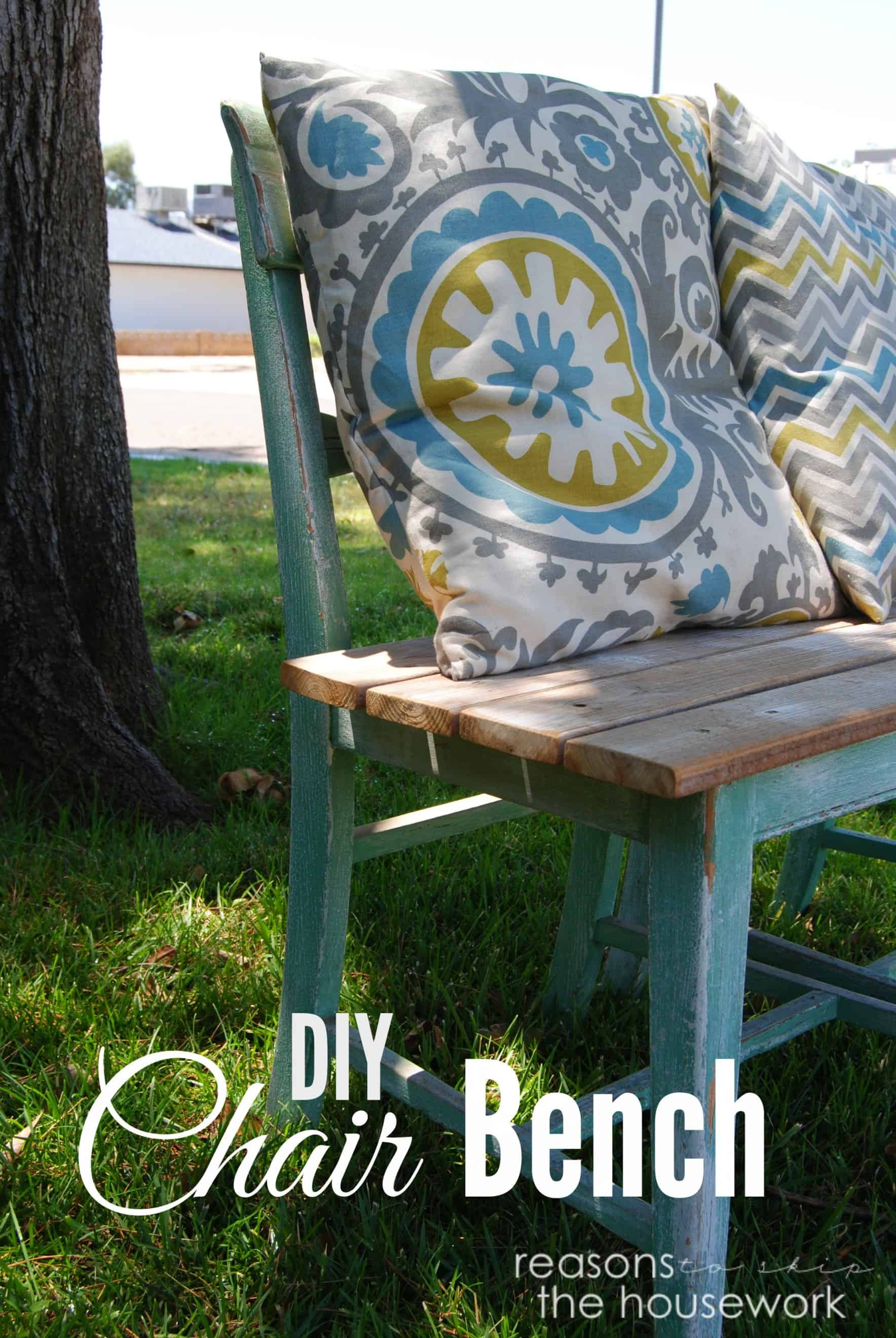 Straight bench from old chairs