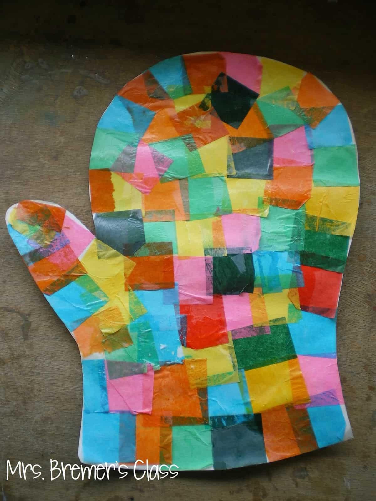 Tissue paper cut and paste mitten