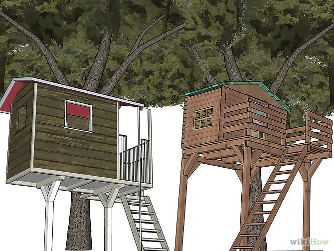 Treehouses with angled ladders