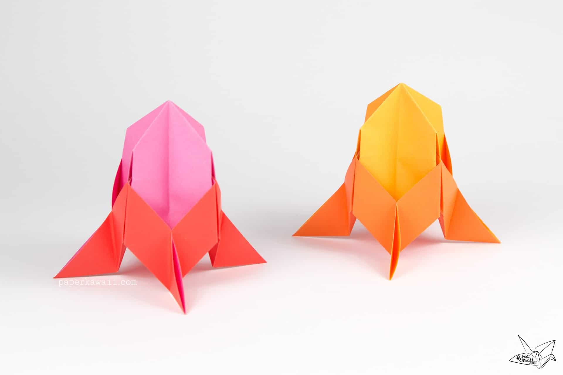 Two colour origami rocket ships