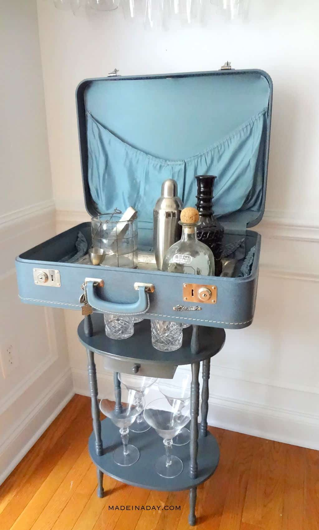 Vintage suitcase bar table