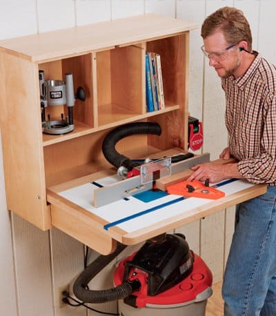 Wall mounted, folding router table
